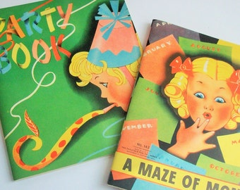 Antique Vintage Puzzle and Party Book / 1940's / Beautiful Graphics