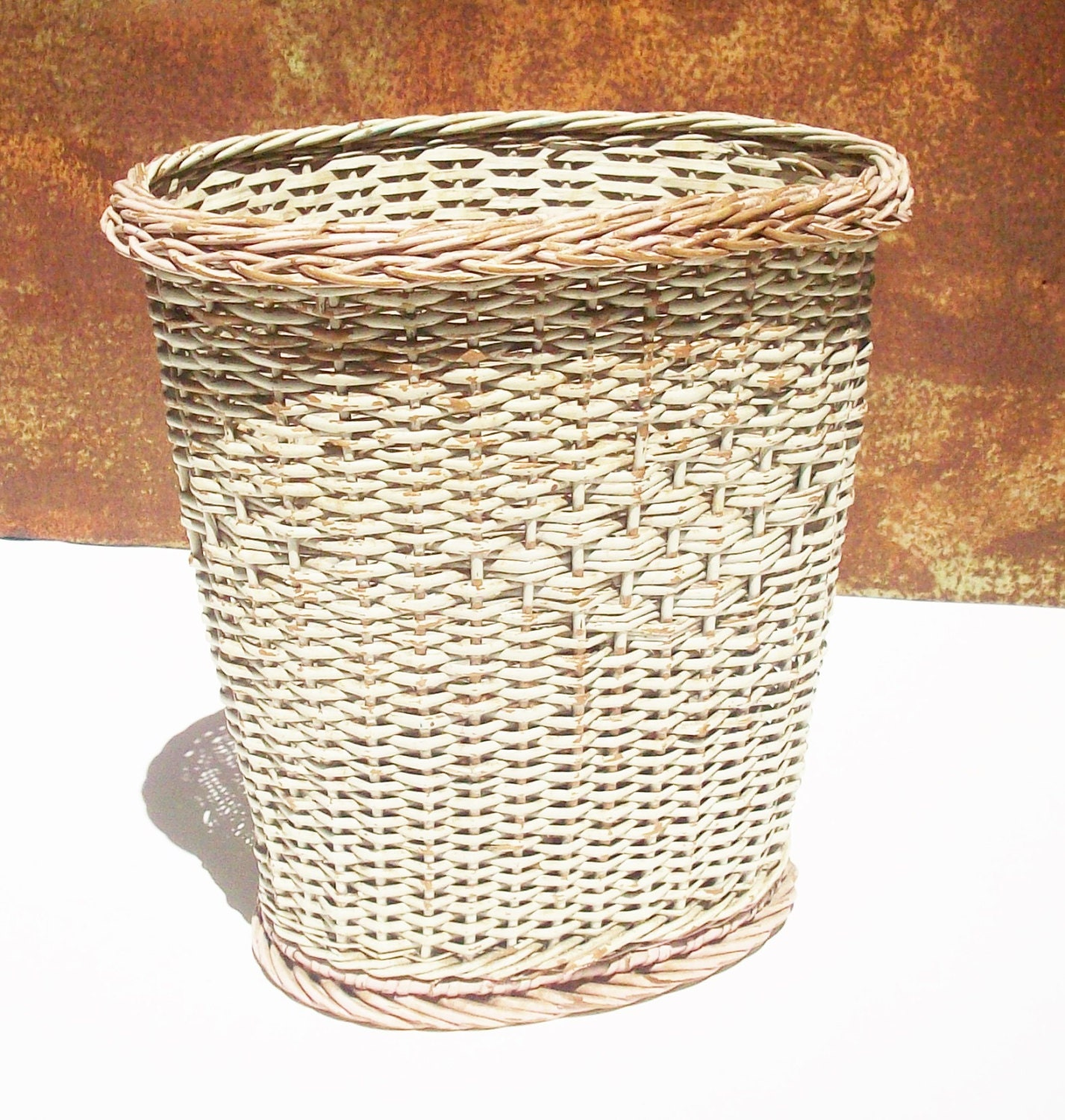Wicker trash basket original condition vintage bathroom - Wicker trash basket ...