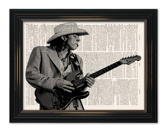 Stevie Ray Vaughn Dictionary Art Print. SRV Legendary Blues Guitarist Dictionary page print 8x10.5 in size. Buy any 3 prints get 1 FREE!