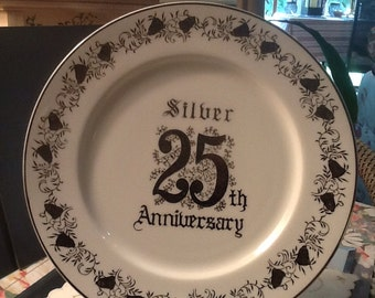 Norcrest Anniversary Cake Plate Decorated with Silver