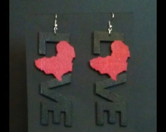 "Africa Love/ ""Red is the Color of Love"" Statement Earrings MADE TO ORDER"