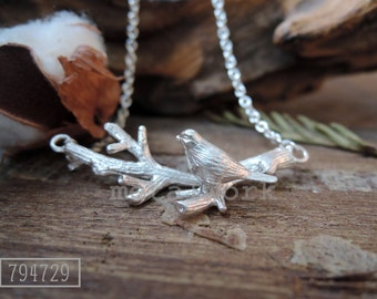 MW P1008 The 925 Silver Bird on a Twig Necklace