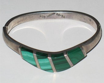 Vintage Modernist Malachite & Sterling Silver Bracelet