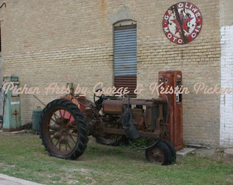 Fine Art Old Tractor and Gas Pump With a Texaco Sign