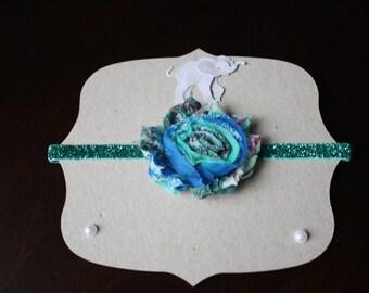 Turquoise Paisley Shabby Chic Flower on Glittery Teal Elastic Headband- Baby Headband, Toddler Headband, Child Headband, Baby Shower Gift