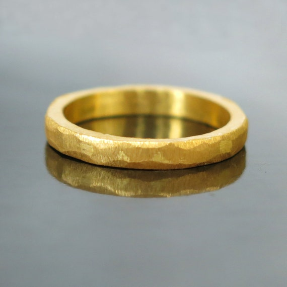 Hammered Gold Wedding Band Modern Ring