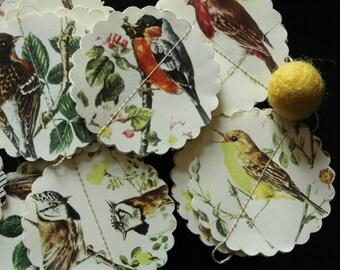 Paper Garland 3D, SINGING BIRDS, Heart Garland, Wedding garland, Birthday Party garland, with wool felt ball