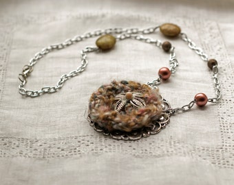 Crochet Pendant with Beads and Timeworn Jewelry