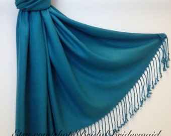 Wedding Season SALE - TEAL PASHMINA - teal shawl - bridal scarf - bridal shawl - bridesmaid gift - wedding gift - scarf - shawl - gift -