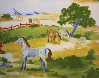 Horse Cow and Buffalo Scene Fabric Roundup by ClothWorks