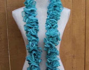 Knit Ruffled scarf in light teal green
