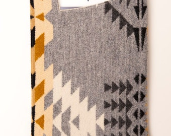 Gray Patterned Wool iPad Air Cover with Flannel Lining and Asymmetrical Opening