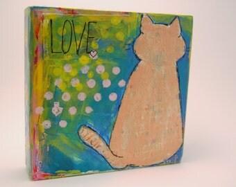 Love Cat for Curling Up With Me - Original Mixed Media Art Block from gunsnhoney