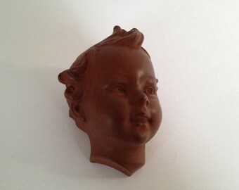 W.Goebel rare cute little terra cotta Wall Mask , from the 1950s by Hummel. - West Germany