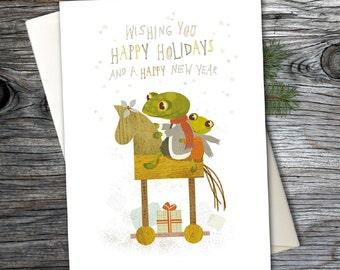 Christmas Greeting Card, Blank Holiday Note Card, Cute Christmas Card, Season's Greetings, Woodland, Frog,Christmas Stationery - Card No. 08