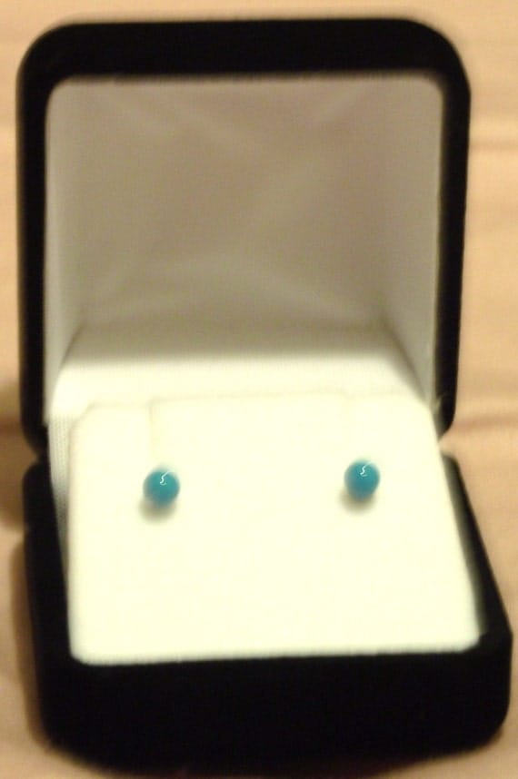Sleeping Beauty Turquoise & Sterling Silver Stud Earrings
