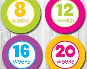 Maternity Stickers, Weekly Pregnancy Stickers, Baby Bump Stickers, Expectant Mom Stickers, Belly Bump Stickers,  Maternity Photo Op, Brights