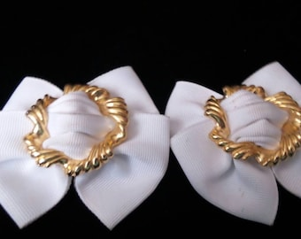 White Bow-Shape Shoe Clips