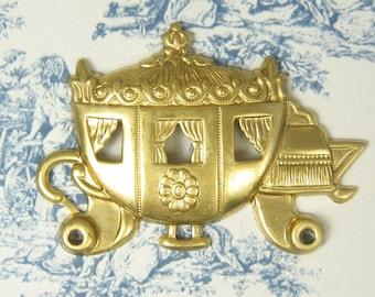 Large Cinderella Carriage Stamping Raw Brass 2-111-R
