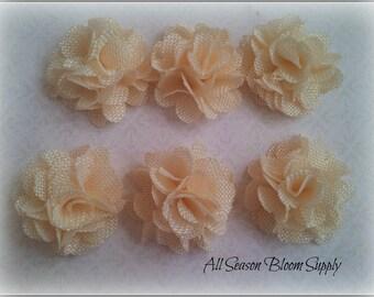 "Set of 3  Mini Burlap Flowers, Ivory, Fabric Flower, Rosettes, DIY, Hair Accessories, Baby Headbands, 2"""