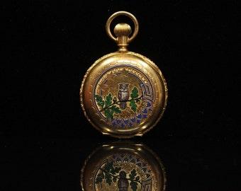 Antique original perfect 14k gold enamel pocket watch