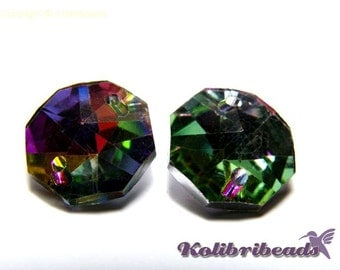 10x Faceted Octagon Glass Sew-on Stones 14 mm - Medium Vitrail
