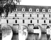 Black and White Chateau de Chenonceau Bridge - Printable Instant Digital Download - Wall Art