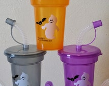 Halloween Small Party Favor Cups Personalized Happy Halloween, DIY KIT Treat Cups Lids & Straws, Orange, Purple, Grey/Black Set of 6