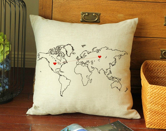 custom map pillow case long distance cushion by creativepillow. Black Bedroom Furniture Sets. Home Design Ideas
