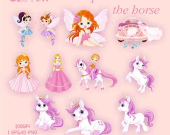 The Princess and the horse Clipart Elements Set 10 PNG/1EPS For Personal and Commercial use Clip Art Instant Download