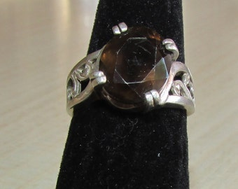Sterling Silver Ring with Smoky Quartz Stone Size 6 1/2