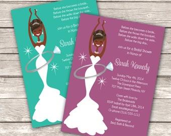 Bridal Shower Printable PDF Invitation Black Wedding Ring Custom