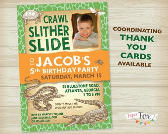 Reptile Birthday Invitation // Crocodile Birthday // Snake Birthday // Insect Birthday - PRINTABLE