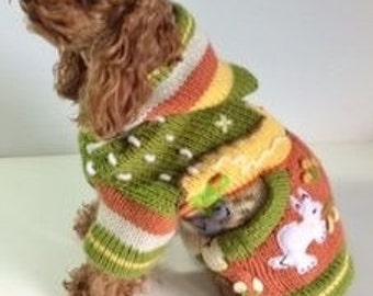 Upcycled XS Dog SWEATER HOODIE
