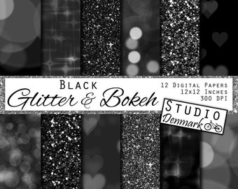 Black Glitter and Bokeh Digital Paper -  Commercial Use Shiny Black Backgrounds - Black Bokeh Paper - Instant Download Black and Silver