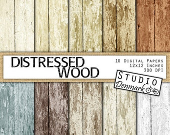 Distressed Wood Digital Paper - Digital Wood Textures - Peeled Paint Backgrounds - Commercial Use - Instant Download Wood Texture