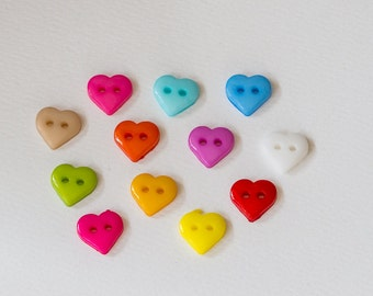 Tiny resin heart buttons