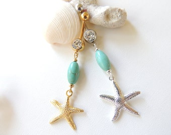 Starfish Belly Button Ring You Choose Finish, Turquoise Belly Button Ring, Navel Piercing, 14g Curved Barbell, Body Jewelry. 250
