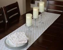 Table runner / Long table runner/ hand block printed with vegetable dyes/ table linens/ linen table runner/ gold table runner