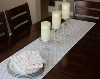 Nice Brown Table Runner   Hand Block Printed/ Long Table Runner/ Table Linens/  Cotton