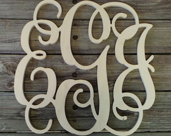 """36"""" Wooden Monogram - Unfinished Vine Script Monogram - Monogram Wedding Guest Book - Nursery Monogram - Monogram Wall Hanging - Door Hanger"""