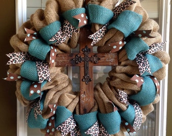 Burlap Wreath - Cross Wreath - Burlap Cross Wreath - Summer Wreath for door - Leopard Decor - Summer Wreath - Door Wreath - Fall Wreath