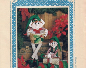 """Two Elves Sewing Pattern - """"Elfin Magic"""" - Vintage - Collectible - All Cooped Up Designs Un-Cut Craft Patterns - Decoration - Gift"""