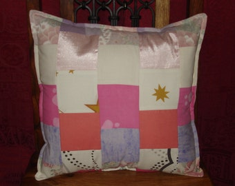 Upcycled 15 in x 15 in Pinks Patch Work Cover and Inner Cushion
