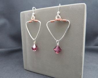 Triangle silver and copper dangles