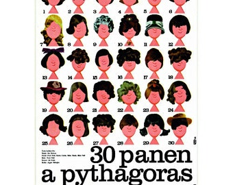 30 Maiden and Pythagoras Original Vintage movie poster from Czechoslovakia