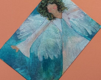 ACEO original painting FREE SHIPPING Angels Series1 Earning Pastel Wings Limited Edition 5 of 6 Christian Art cast artbyevelynmarie