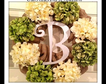 Hydrangea Monogram Wreath - Easter Wreath - Spring Wreath - Summer Wreath - Mothers Day Wreath - Large Wreath - Flower Wreath - Burlap