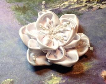 White Satin Flower Hair Bow