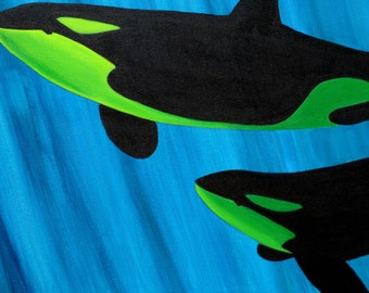 Thar be Whales - showing whales as seen underwater.